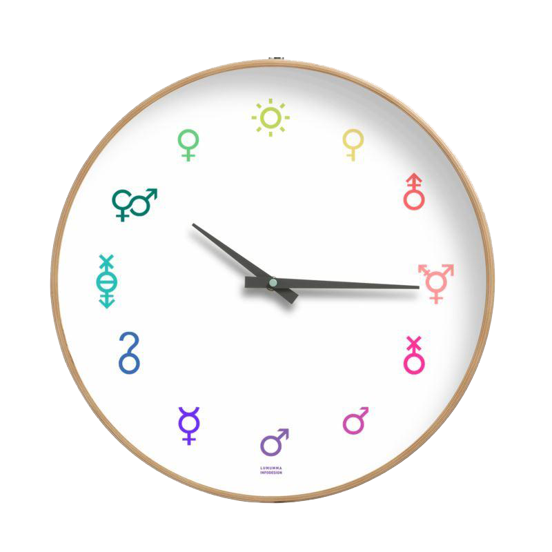 Wall Clock with colorful gender symbols